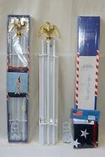 6' Flag Pole Eagle Top 6ft White Pole Kit Diam 3/4 Eagle steel bracket USA Flag