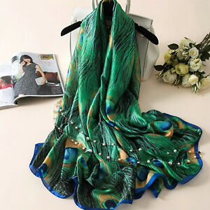 Long Silk Scarf with Peacock Feather Print Large Shawl in Rich Vivid Colours
