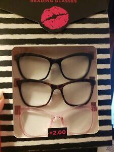 BETSEY JOHNSON Reading Glasses 3 Large Readers Black, Brown Tortoise, Pink