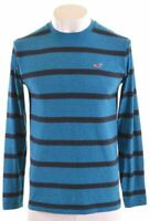 HOLLISTER Mens Top Long Sleeve Medium Blue Striped Cotton  P008