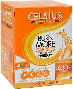 CELSIUS | Sparkling Fitness Drink, Zero Sugar, 12 oz Slim Can | Orange, 4-Pack