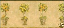 TUSCAN BEIGE TOPIARY TREES WALLPAPER BORDER / BREWSTER
