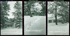 Lot of 3 1950's RPPC's Schram's Red Cedar Lodge in Winter Jenkins MN   B1081