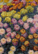 Oil painting Claude Monet - Bed of Chrysanthemums flowers no framed canvas