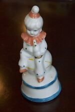 "VINTAGE CHILD CLOWN FIGURINE SOPHIA ANN PORCELAIN SITTING BALL HORN MUSIC 6.5""H"