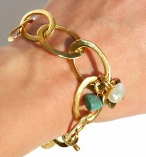 Gold 24K Plated Cut Out Links Bracelet W Turquoise Pearl Stone Flower Charms .