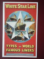 POSTCARD WHITE STARL LINE POSTER - 1938 TYPES OF WORLD FAMOUS LINERS