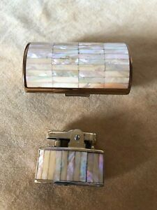VINTAGE BRASS AND MOTHER OF PEARL RONSON COSMETIC CASE AND LIGHTER SET
