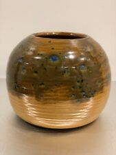 Vintage Bar Harbor Maine Pottery Blue Drip Glaze Vase MCM