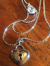 LOVE HART CZ  9CT WHITE GOLD FILLED PENDENT NECKLACE