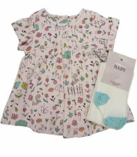 NEW BABY GIRL M&S LIGHT PINK WOODLAND PRINT PIN CORD DRESS & TIGHTS 9-12Months