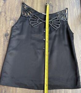Miu Miu , Lazer Cut  Leather  Detail As Pictures Satin Black Top Small