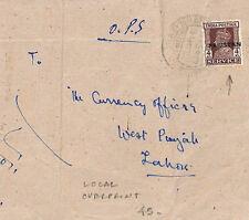 AH9 1948 *PAKISTAN* LOCAL HANDSTAMP India OVERPRINT *Rawalpindi* Cover Lahore