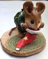 Wee Forest Folk  M-142 Christmas Mouse Stocking - RARE- Signed Annette Petersen