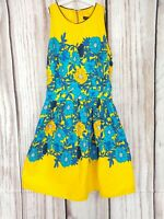 Atmosphere Bright Yellow Blue Floral 70s Style Hippie Tea Dress Size 8 10