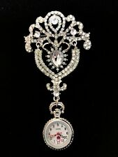 Beautiful Brooch Fob Watch with Diamante Beads