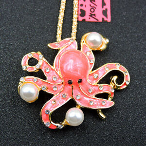 New Betsey Johnson Fashion Crystal Cute Pearl Octopus Charm Pendant Necklace