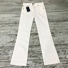 NEW ARMANI JEANS White Textured Stripe Trousers Long Size 29 UK 10 12 16170