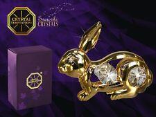 G 3817 Rabbit Gold Hase Swarovski Steine Kristall 24 Karat Crystal 7,2 cm