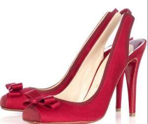 Fabulous Christian Louboutin Slingback Pumps (Bow). Size 7.5/Size 37.5.  Red