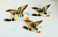 Three Vintage Mallard Duck Glazed Ceramic Wall Pocket Planters
