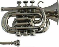 POCKET TRUMPET ~Bb PITCH ~NICKEL PLATED ~WITH FREE ~HARD CASE + MOUTHPIECE
