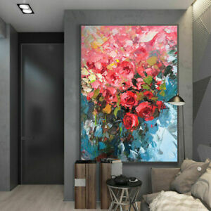 """YA894 Canvas 100% Hand-Painted Flower oil painting Red Rose Unframed 24""""x36"""""""