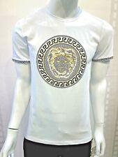 New Men Laverita Short Sleeve Very Slim Fit T-Shirt White Gold Medusa Rhinestone