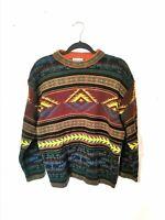 Vintage M S MER DU NORD 50% Wool Crazy Pattern Jumper Aztec Colourful Fair Isle