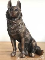 German Shepherd Alsatian ornament figurine Leonardo Bronzed range. Gift boxed.