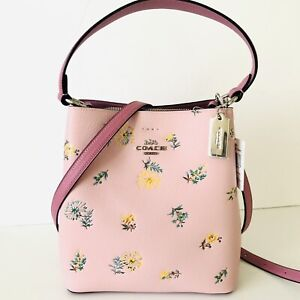 Coach Small Town Bucket Bag Floral Dandelion Pink Leather Purse NWT $398 SEALED