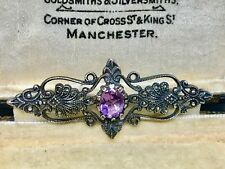 Lovely Sterling Silver & Amethyst Victorian Style Brooch