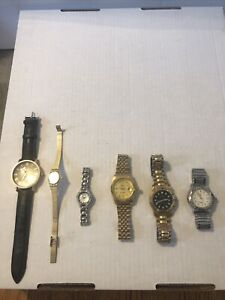 LOT OF 6 Untested As It Stainless Steel Watches Non Currently Working Untested