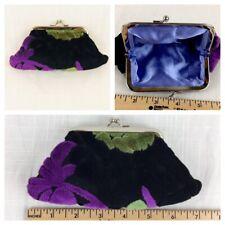 Glenda Gies Coin Purse Bag Chenille Floral Kisslock Wallet Black Purple New