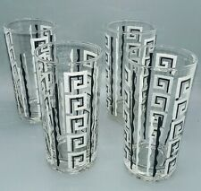 FIVE vintage black and white mcm libbey tom collins glass tumblers
