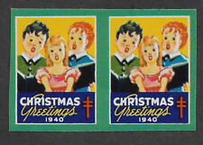 US WX100v (1940) Christmas Seals - MNH - EFO: Imperf Pair