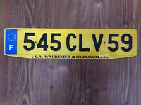 FRANCE LICENSE PLATE - 59 Nord / Lille / Hauts-de-France 545 CLV 59