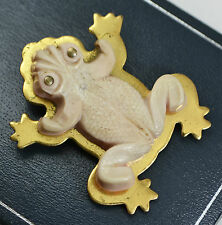 FRENCH Unusual ART DECO Vintage Pale Pink BAKELITE FROG Dress Clip / Brooch