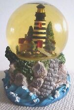 "Vtg Lighthouse Water Globe Music Box Tune ""Raindrops keep Fallen on My Head"""