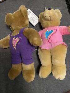 "Hallmark ""Love and Kiss Kiss"" Plush Valentine's Teddy Bears, Purple & Pink"