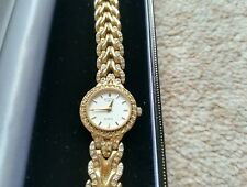 Gold Plated Ladies Watch Rotary Quartz With Gems And Platted Type Strap