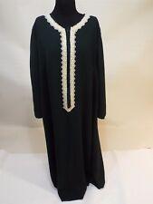 Women olive green gold lace long dress kuftan caftan abaya gown size 18 liner