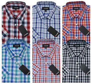 Mens Short Sleeve Summer Yarn Dyed PolyCotton Check Shirt M - 6XL