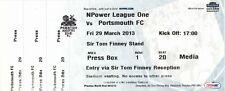 Ticket - Preston North End v Portsmouth 29.03.2013
