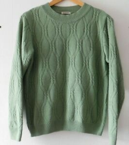 Damart Women's Casual Green Cable Knit Long Sleeve Pullover Jumper Size 10/12