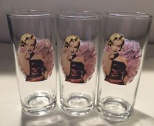"""Set Of 3 Marilyn Monroe Collectible Drinking Glasses 6""""x2.5"""""""