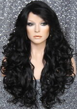 Full Heat OK Curly Long Wig Jet Black Bangs Layered Hair Piece 1 NWT WBSO