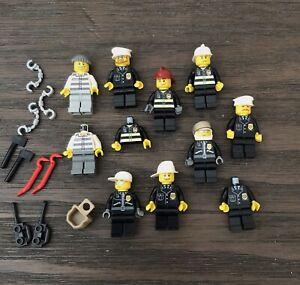 LEGO Minifigures Lot Town City Police Firefighters Jail Prisoners Parts Used