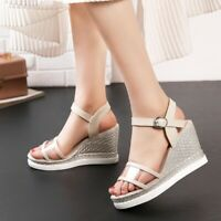 Womens Clear Ankle Strap Slingback Sandals Platform Wedge Roman High Heels Shoes