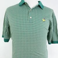 MASTERS AUGUSTA NATIONAL GOLF SHOP GREEN CHECK SHORT SLEEVE POLO SHIRT MENS SZ L